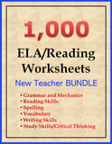 1000 ELA and Reading Worksheets BUNDLE (eBook)