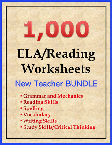 1000 ELA and Reading Worksheets BUNDLE