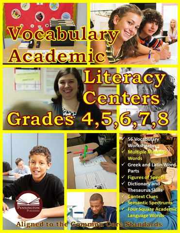 Vocabulary Academic Literacy Center Grades 4, 5, 6, 7, and 8