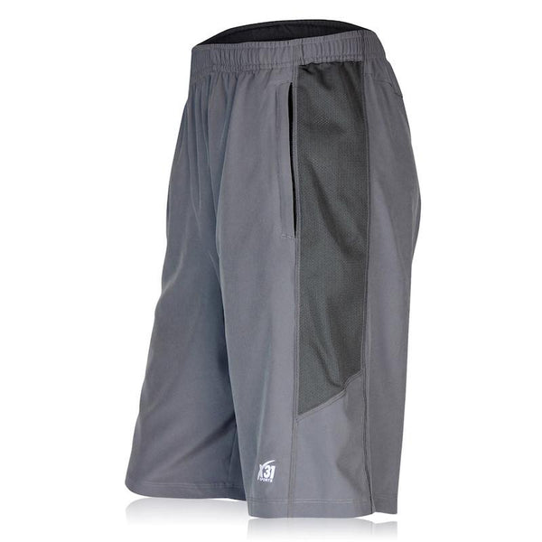 Mens Running Shorts Grey Pockets
