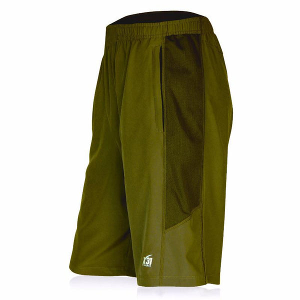 Army Green Workout Shorts with Zippered Pockets