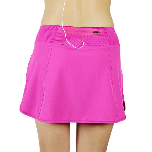 Running Skirt, Workout Skort with Shorts and Zipper Pocket