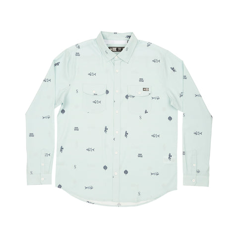 Topwater Light Blue L/S Tech Woven