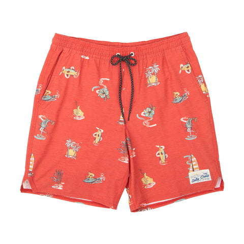 Island Days Red Elastic Boardshorts