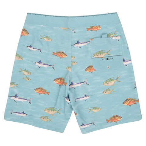 Fish Stamp Dusty Blue Boardshorts