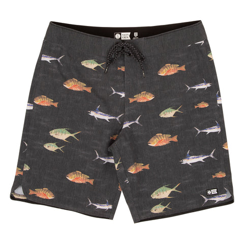 Fish Stamp Vintage Black Boardshorts