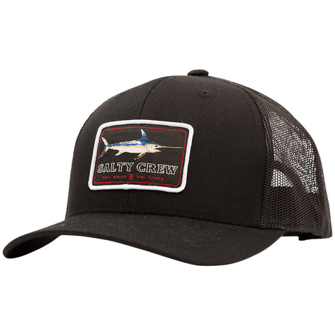 Flat Bill Black Retro Trucker