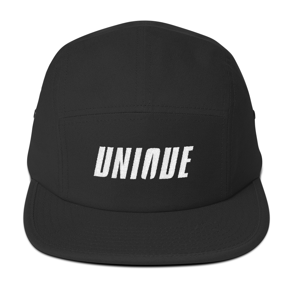 Unique Five Panel Cap Black