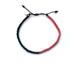 Love Life - Beaded Bracelet (Black & red)