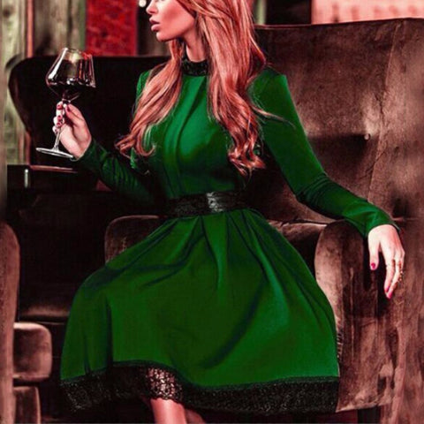 Fashion Women Sexy Long Sleeve Slim Maxi Dresses Green Dress