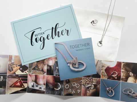 pendant necklace chain with card, brochure and packaging