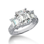 Three Stone, 3-sided Diamond Shank Engagement Ring