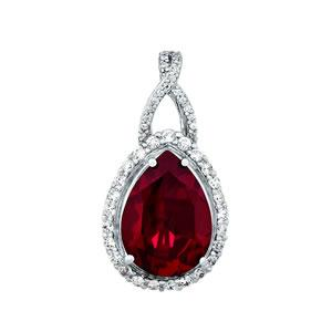 Oh the Night Halo Droplet Ruby Pendant