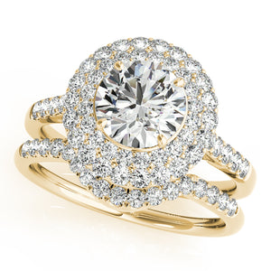 Oh The Night 14k Gold and Diamond Round Halo Engagement Ring