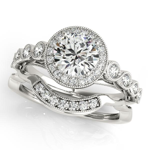 Oh the Night Bead Set with Milgrain Halo Engagement Ring