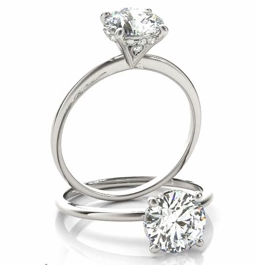 Solitaire Engagement  Ring in 14 Karat Gold and Diamonds