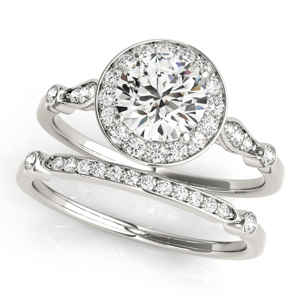 Micro-Pave Diamond Halo Engagement Ring in 14k White Gold