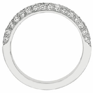 Three Sided Micropave Band in 14 Karat White Gold and Diamonds