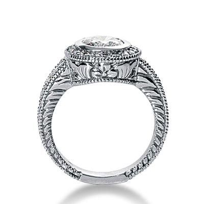 Mil-grain Edge Halo Micropave Engagement Ring