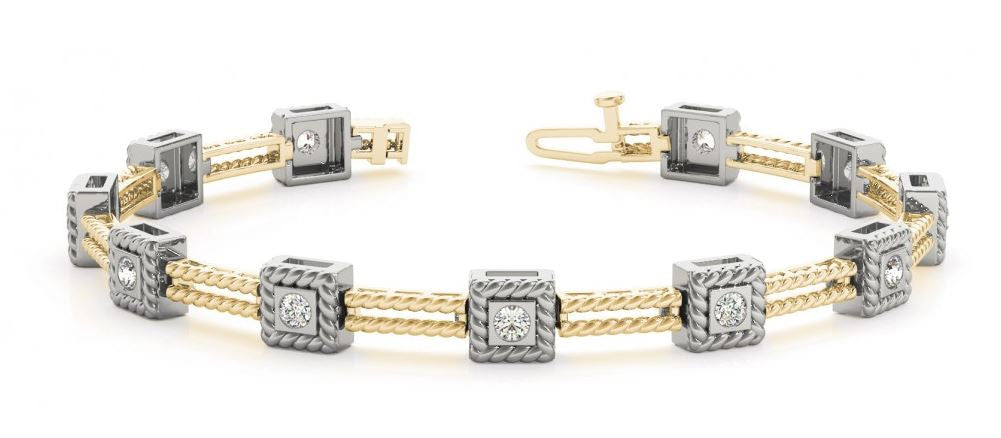 BRACELET 14KT GOLD or Two-Tone Gold and Diamond
