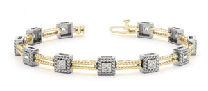 Bracelet in 14 karat or Two-Tone Gold and Diamonds