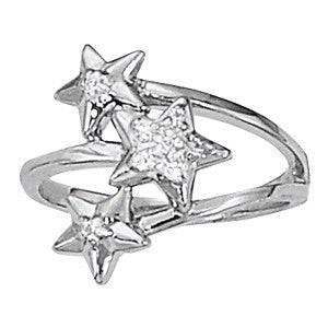 Trendy, Star Design Fashion Ring in 14 karat Gold and Diamonds