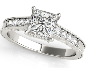 Princess Cut Engagement Ring in 14 Karat Gold and Diamonds