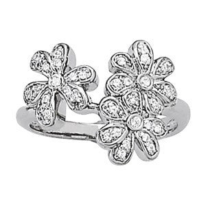 Pretty Flowers Fashion Ring in 14 Karat Gold and Diamonds