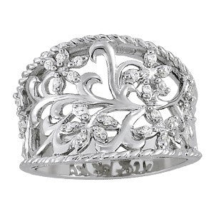 FIligree Swirl Fashion Ring in 14 Karat Gold and Diamonds