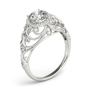Oh the Night Antique Halo Engagement Ring - T'rente Fine Jewelry