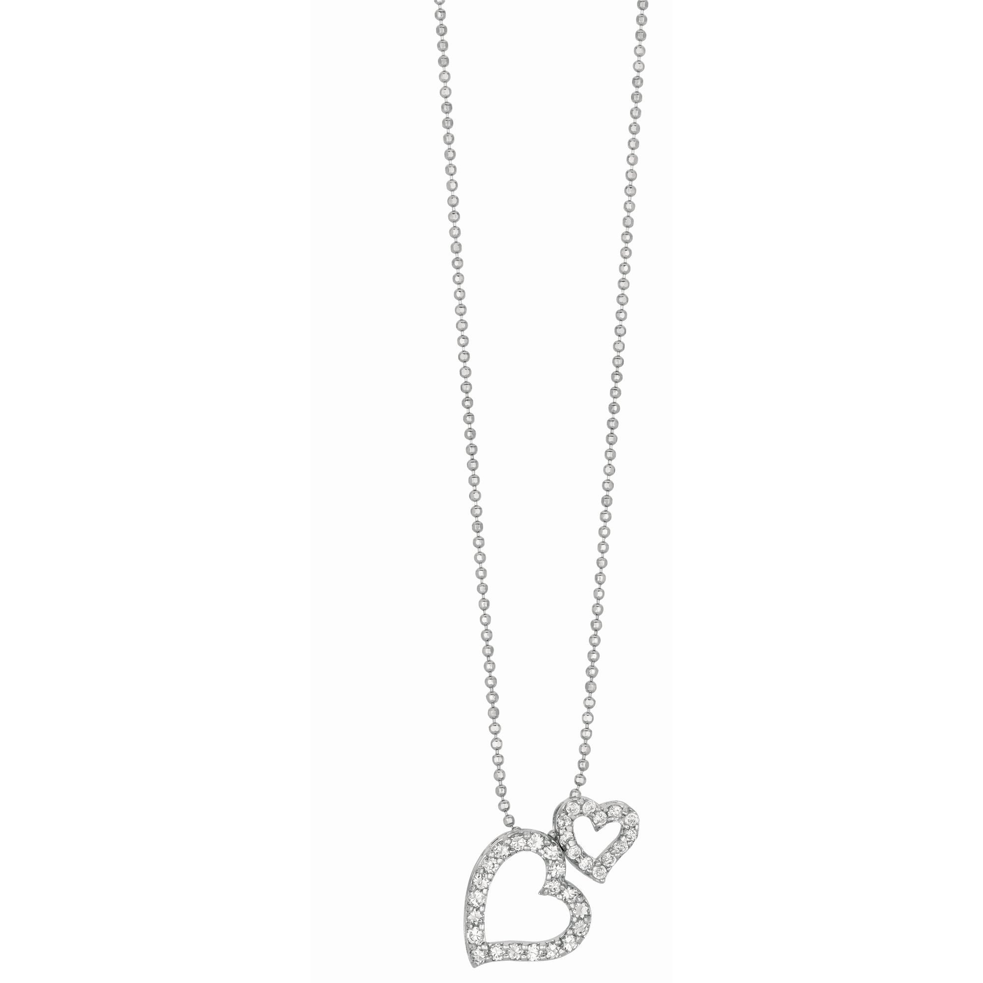 Double Heart Pendant Sterling Silver Necklace