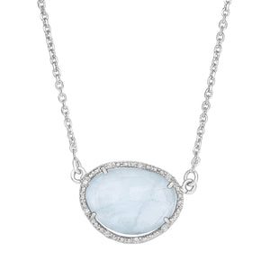 Milky Aquamarine & Diamonds Necklace