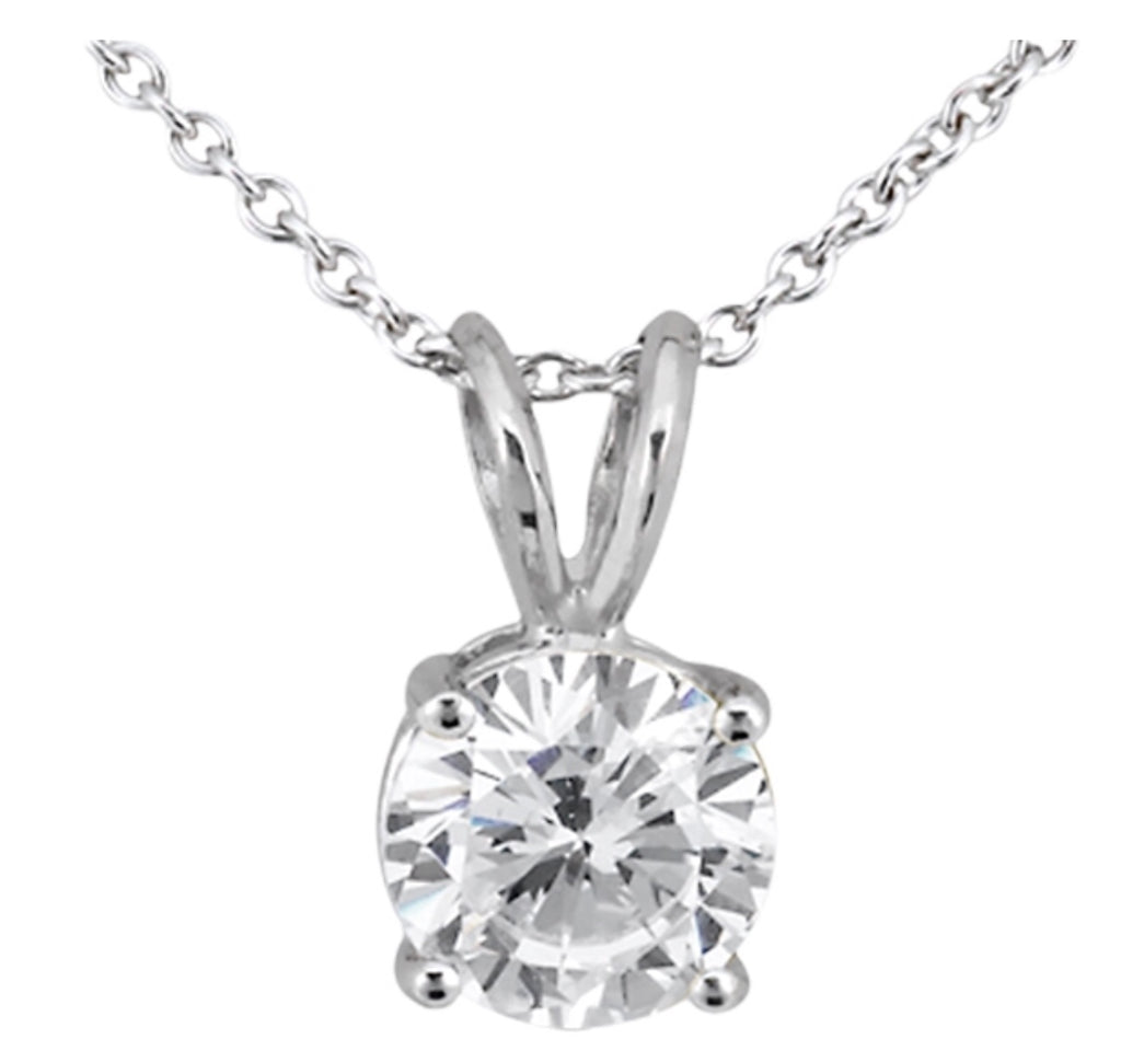 Single Stone, Solitaire Diamond Pendant with a Four Prong Setting in 14k Gold