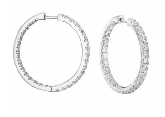 Inside-Outside Hoop Earrings in 14 Karat Gold with Diamonds