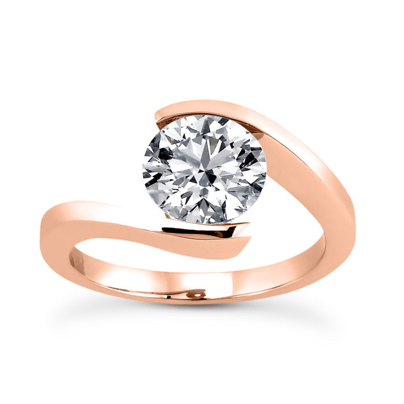 Single Solitaire Tension Set Engagement Ring