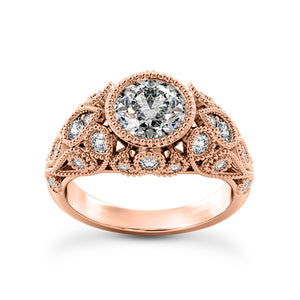 Art Deco Engagement Ring In 14 Karat Gold and Diamonds