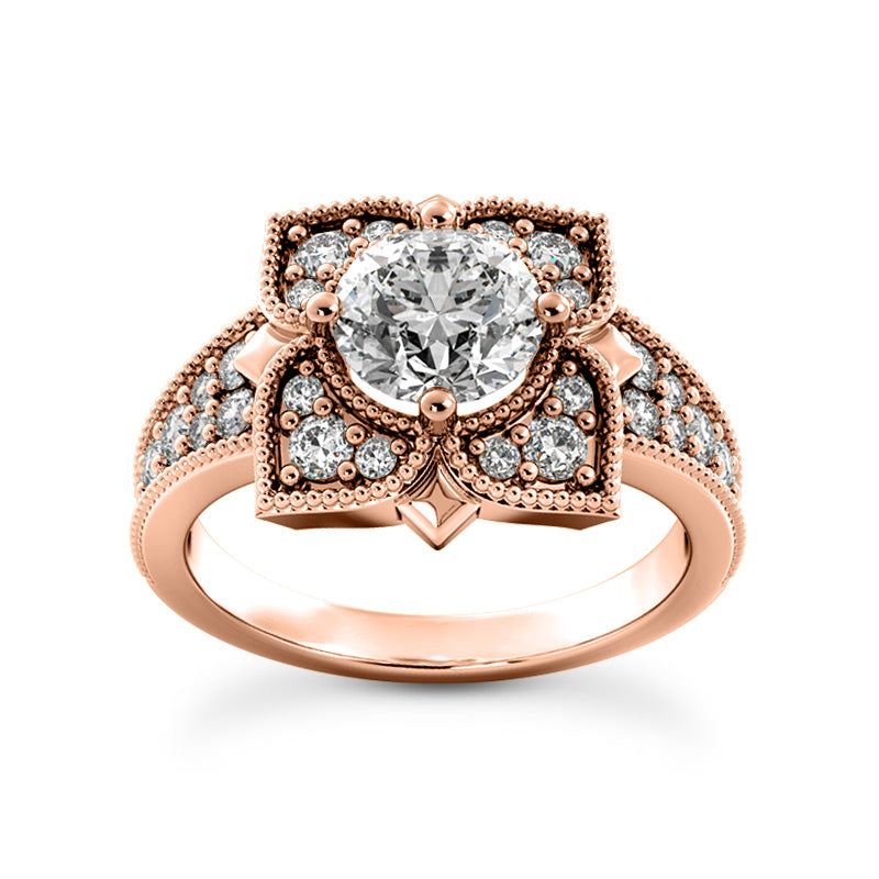 Floral Art Deco Design Engagement Ring in 14 Karat Gold and Diamonds