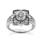 Floral Art Deco Design Engagement Ring in 14 Karat Gold and Diamonds - T'rente Fine Jewelry