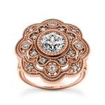 Floral Design, Art Deco Engagement Ring in 14 Karat Gold and Diamonds - T'rente Fine Jewelry