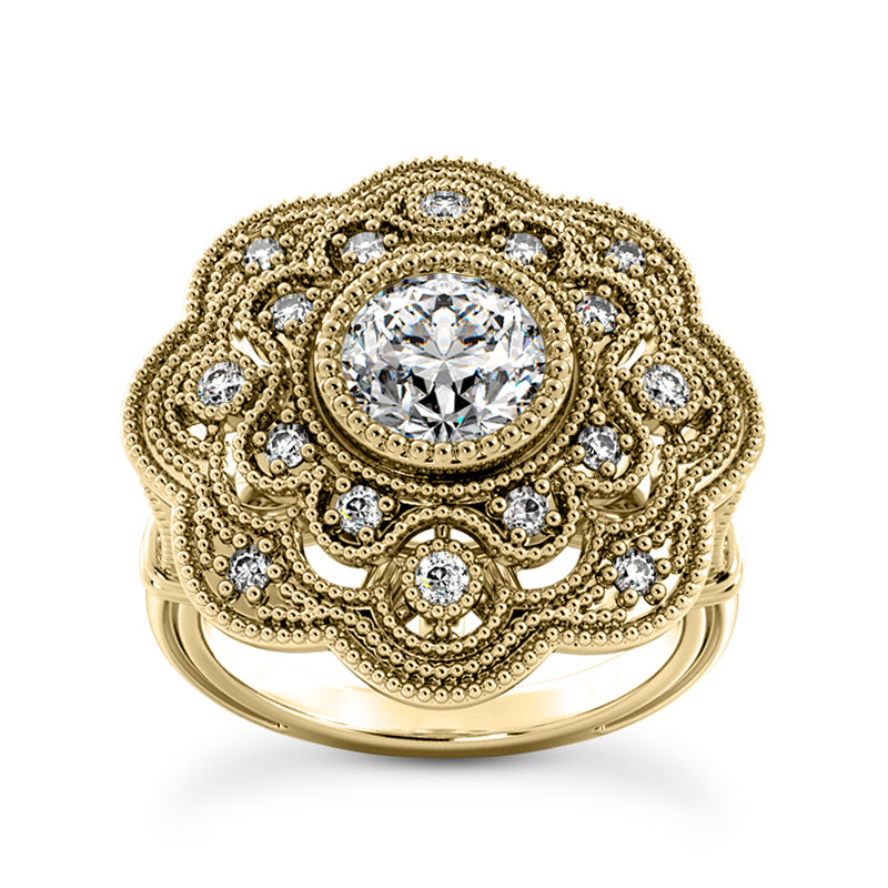 Floral Design, Art Deco Engagement Ring in 14 Karat Gold and Diamonds