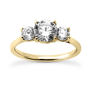 Three Stone Engagement Ring with Wedding Band in 14 Karat Gold and Diamonds