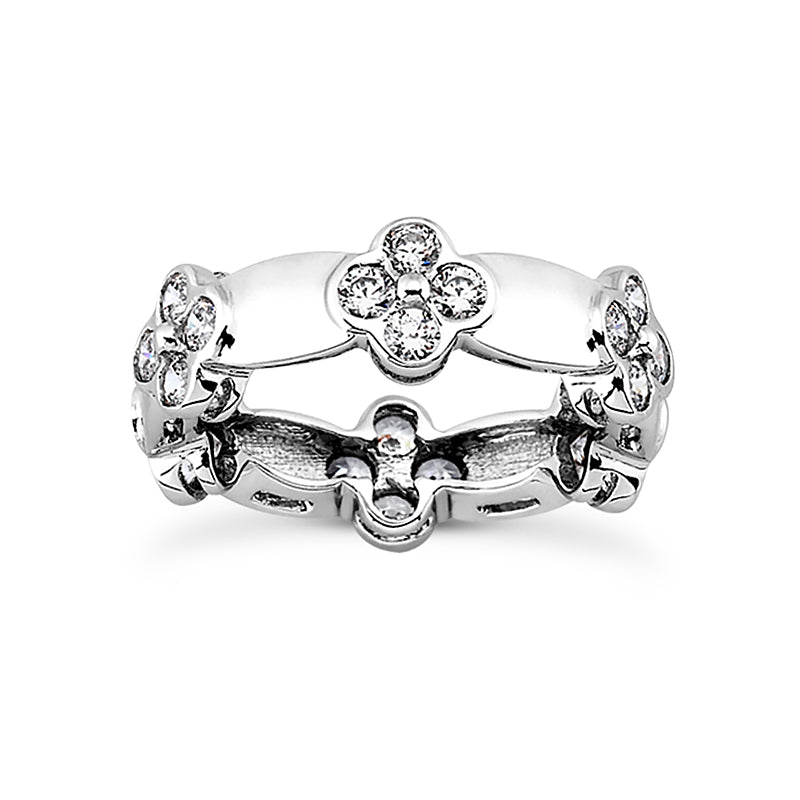 Bezel Set Floral Eternity Ring - T'rente Fine Jewelry