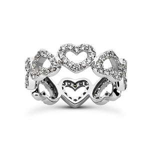 Heart Shaped Eternity/Anniversary Micropave 14K White Gold Band
