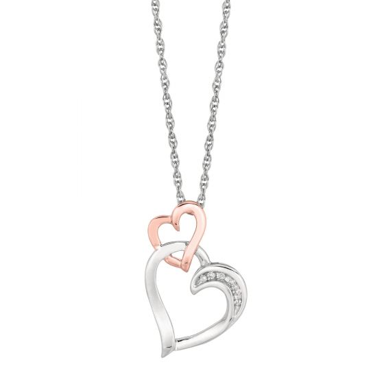 Silver Heart Link Pendant Necklace