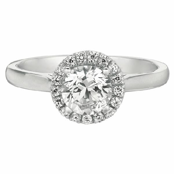 Halo Solitaire Engagement Ring in 14 Karat Gold and Diamonds