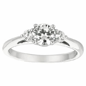 Three-Stone Engagement Ring in 14 Karat Gold and Diamonds - T'rente Fine Jewelry