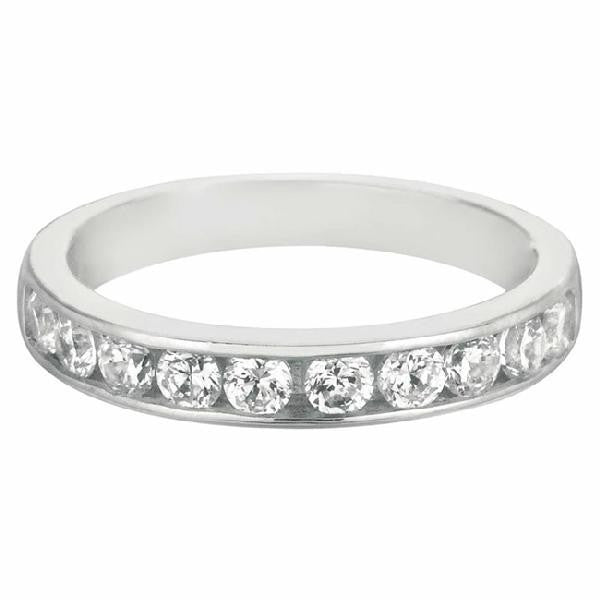 Channel Set Band in 14 Karat White Gold and Diamonds