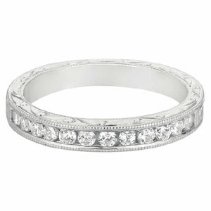 Channel Set, Hand Engraved Band in 14 Karat White Gold and Diamonds