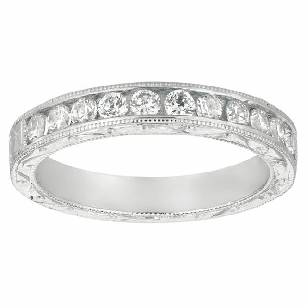 Channel Set Hand Engraved Band in 14 Karat White Gold and Diamonds