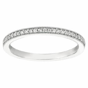 Bead Set Band in 14 Karat White Gold and Diamonds